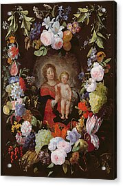 The Virgin And Child With A Garland Of Flowers Oil On Panel Acrylic Print