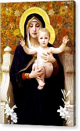The Virgin Of The Lilies Acrylic Print by William-Adolphe Bouguereau