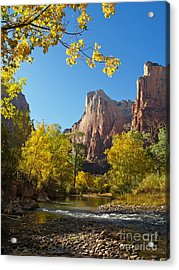 The Virgin River And The Court Of The Patriarchs Acrylic Print by Alex Cassels