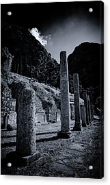 Acrylic Print featuring the photograph The Votive Monument Of Spartans At Acient Delphi by Micah Goff