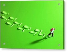 The Walker And Footprints Little People Big World Acrylic Print by Paul Ge