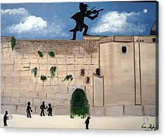 The  Western Wall And Fiddler On The Roof Acrylic Print