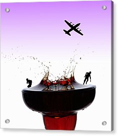 The War On A Cocktail Cup Little People On Food Acrylic Print by Paul Ge