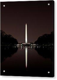 The Washington Monument - Reflections At Night Acrylic Print