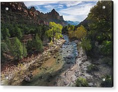 The Watchman In Zion National Park Acrylic Print by Larry Marshall