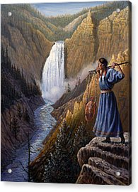 The Water Carrier Yellowstone Acrylic Print by Gregory Perillo