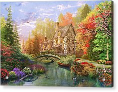 The Water Lake Cottage Acrylic Print by Dominic Davison
