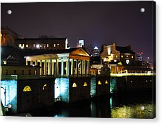 The Waterworks At Night Acrylic Print by Bill Cannon