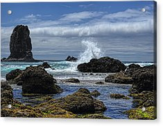 The Waves At Haystack Rock Acrylic Print