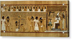 The Weighing Of The Heart Against Maats Feather Of Truth, From The Book Of The Dead Of The Royal Acrylic Print by Egyptian 19th Dynasty