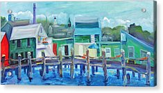The Wharf In August Acrylic Print by Maria Milazzo