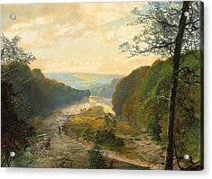 The Wharfe Valley With Barden Tower Beyond Acrylic Print by John Atkinson Grimshaw