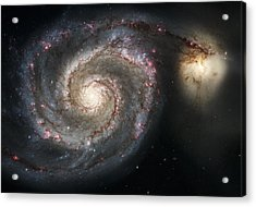 The Whirlpool Galaxy M51 And Companion Acrylic Print by Adam Romanowicz