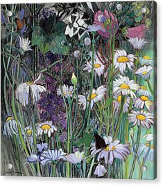 The White Garden Acrylic Print by Claire Spencer