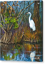 The White Heron Acrylic Print by Dianne Parks