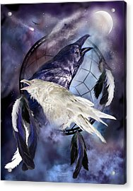 The White Raven Acrylic Print by Carol Cavalaris