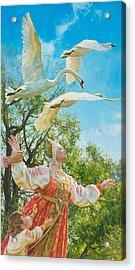 The White Swan Acrylic Print by Victoria Kharchenko