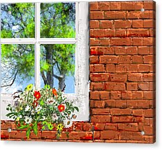 The Window Triptych Summer Acrylic Print by Jim Hubbard
