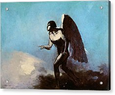 The Winged Man Or Fallen Angel Acrylic Print by Odilon Redon