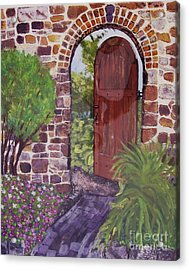 Acrylic Print featuring the painting The Wooden Door by Lucia Grilletto
