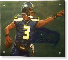 The Word Is Out Feat Russell Wilson Acrylic Print by D Rogale
