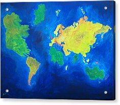 The World Atlas According To The Irish Acrylic Print by Conor Murphy