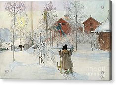 The Yard And Wash House Acrylic Print by Carl Larsson