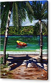 Acrylic Print featuring the painting The Yellow And Red Boat by Laura Forde