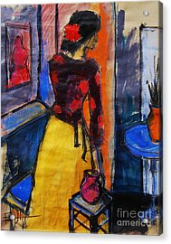 The Yellow Skirt - Pia #9 - Figure Series Acrylic Print by Mona Edulesco