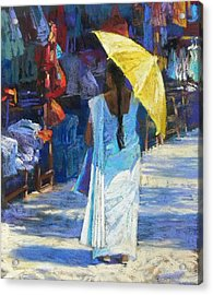 The Yellow Umbrella Acrylic Print by Jackie Simmonds