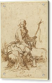The Youthful Saint John The Baptist Seated In A Landscape Acrylic Print by Litz Collection