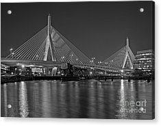 The Zakim Bridge Bw Acrylic Print by Susan Candelario