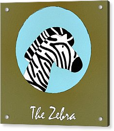 The Zebra Cute Portrait Acrylic Print by Florian Rodarte