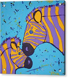 The Zebra Nuzzle Acrylic Print by Yshua The Painter