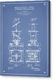 Theodolite Patent From 1921- Light Blue Acrylic Print by Aged Pixel