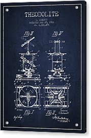Theodolite Patent From 1921- Navy Blue Acrylic Print by Aged Pixel
