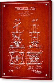 Theodolite Patent From 1921- Red Acrylic Print by Aged Pixel