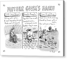 There Are Three Panels With Three Haikus Acrylic Print by Roz Chast