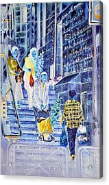 There Is A Ladder Set Up On The Earth Acrylic Print by Nekoda  Singer