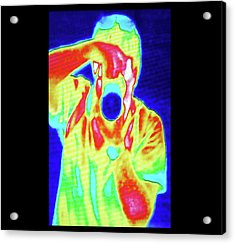 Thermal Camera Self Portrait Acrylic Print by Zephyr