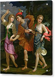 Theseus With Ariadne And Phaedra, The Daughters Of King Minos, 1702 Acrylic Print by Benedetto the Younger Gennari