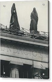 They Don't Like Them Any More; Peron Statues - Covered In Acrylic Print by Retro Images Archive