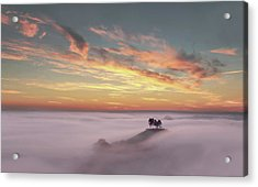 Thick Fog Over Hill Acrylic Print