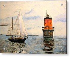 Thimble Shoals Light Acrylic Print by Stan Tenney