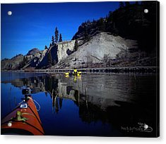 Thin Ice Kayaking Skaha Lake Acrylic Print by Guy Hoffman