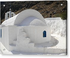 Acrylic Print featuring the photograph Thirasia Church Santorini Greece by Colette V Hera  Guggenheim