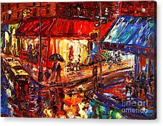 Third And Mcdougal In The Rain Acrylic Print by Arthur  Robins