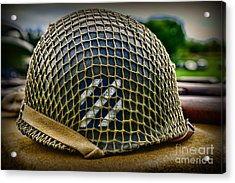 Third Infantry Division Helmet Acrylic Print by Paul Ward