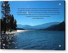 This Is My Fathers World Acrylic Print by Lynn Hopwood