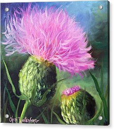 Acrylic Print featuring the painting Thistle by Cheri Wollenberg